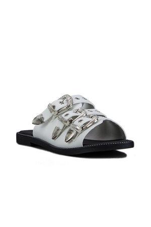 JADA White Buckle Slider Sandals With Silver Detail