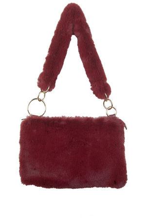 UNA Wine Faux Fur Shoulder Bag