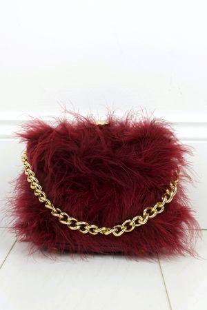 FELICITY Burgundy Feather Bag