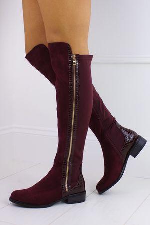 KYLIE Wine Over Knee Boot