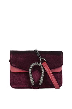 HEIDI Burgundy Tiger Shoulder Bag With Chain Strap