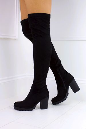 YASMIN Black Faux Suede Over Knee Boot