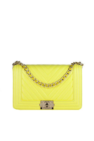 MOLLY Yellow Quilted Chain Shoulder Bag With Gold Detail