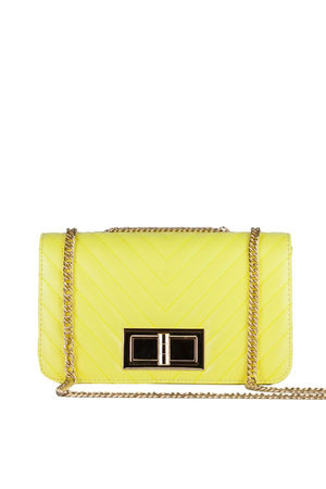 STEPHANIE Yellow Quilted Chain Shoulder Bag With Gold Detail