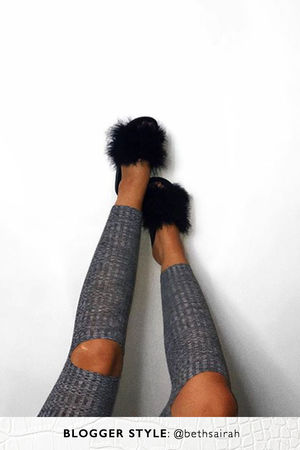 MEGAN Black Faux Fur Slider