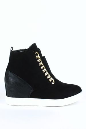 CARA Black Chain Wedge Sneaker