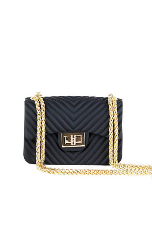 CORINA Black Mini Quilted Shoulder Bag With Gold Chain