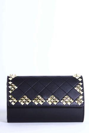 ELISE Black Stud Quilted Clutch Bag