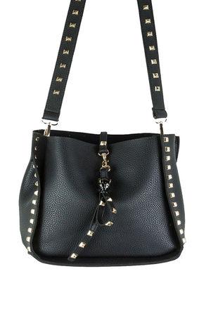 JESS Black Stud Slouch Shopper Bag