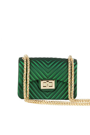 CORINA Green Mini Quilted Shoulder Bag With Gold Chain