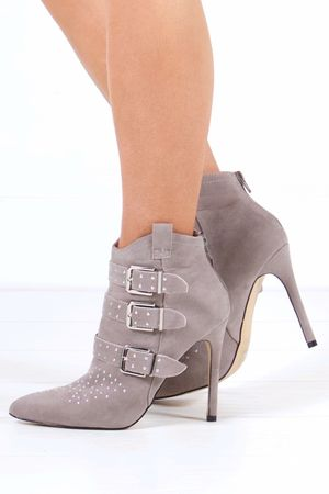 BROOKLYN Grey Buckle Ankle Boot