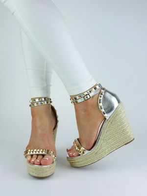 MADISON Silver Studded Espadrille Wedges
