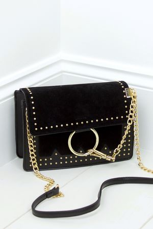 KATE Black Stud Cross Body Bag