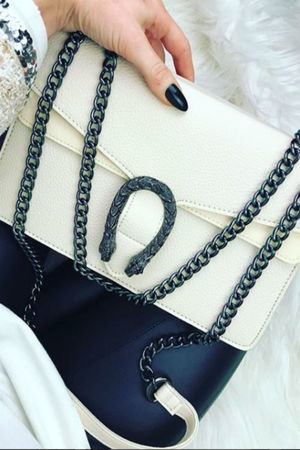 KAYLEIGH Cream Tiger Chain Shoulder Bag
