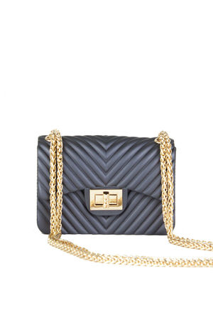 CORINA Mauve Mini Quilted Shoulder Bag With Gold Chain