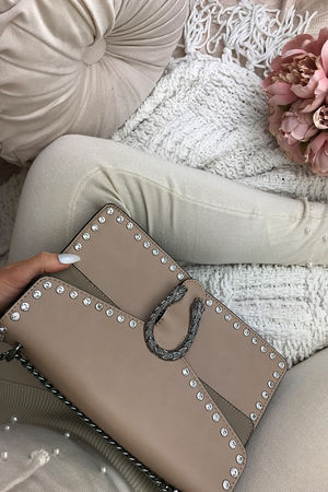 MELANIE Beige Jewel Shoulder Bag