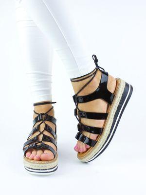MELISSA Metallic Black Espadrille Sandal