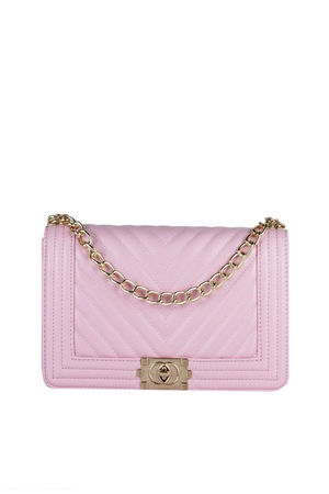MOLLY Pink Quilted Chain Shoulder Bag With Gold Detail