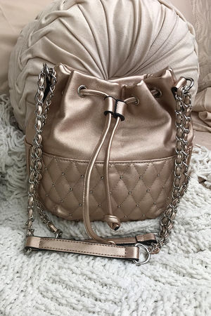 RHEA Rose Gold Stud Bucket Bag With Silver Detail