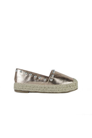 RENEE Rose Gold Stud Espadrilles With Silver Detail