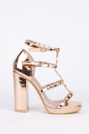 LORENA Rose Gold Stud Block Heel