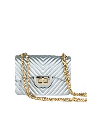 CORINA Silver Mini Quilted Shoulder Bag With Gold Chain