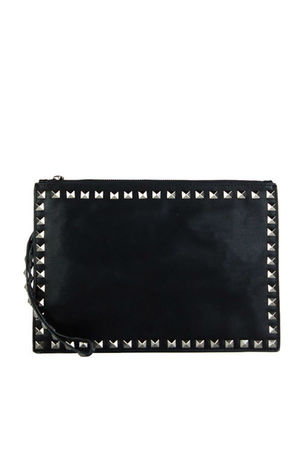 HEATHER Black Stud Clutch Cross Body Bag