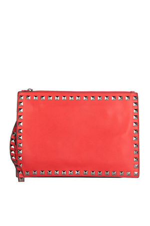 HEATHER Red Stud Clutch Cross Body Bag