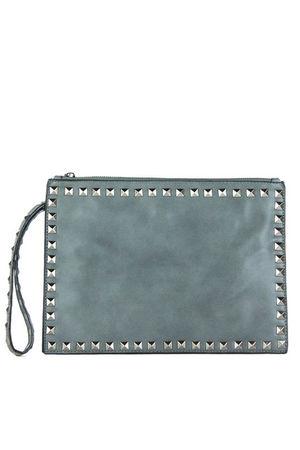 HEATHER Grey Stud Clutch Cross Body Bag