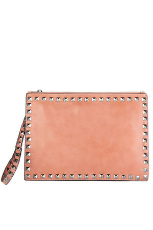 HEATHER Pink Stud Clutch Cross Body Bag