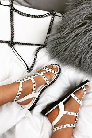 TARA White Stud Cage Sandals With Silver Detail