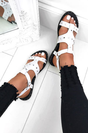 CARIS White Stud Sandals With Silver Detail
