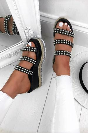 CASSIE Black Pearl Espadrille Wedges