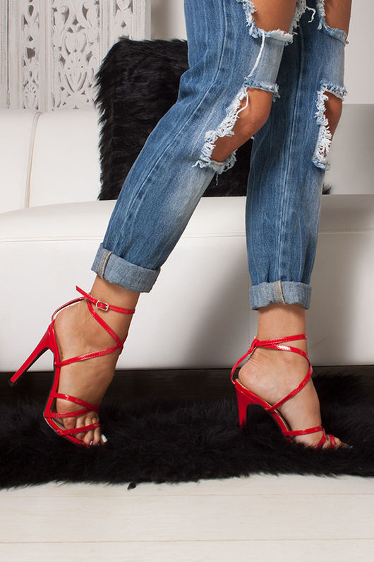 AURORA Red Pointy Wrap Up Heels