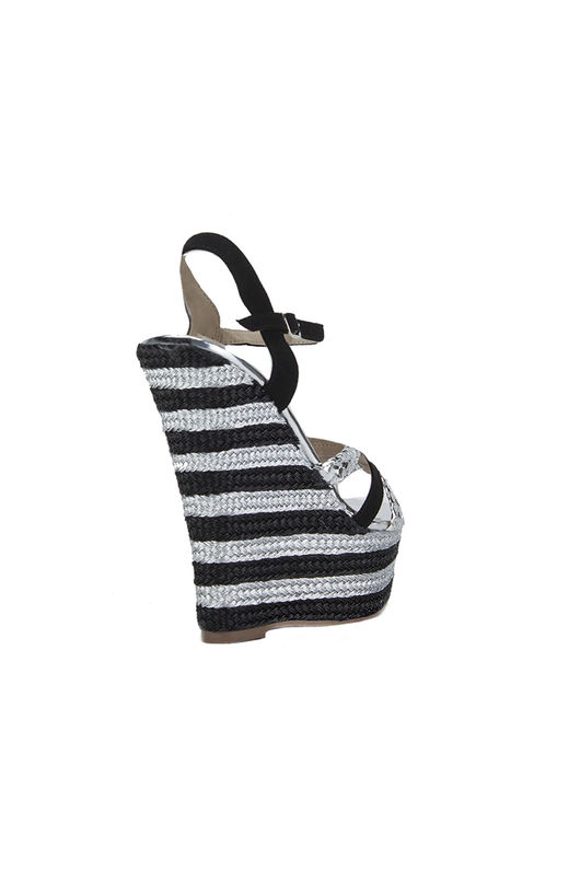 ALESHA Silver And Black Metallic Wedges
