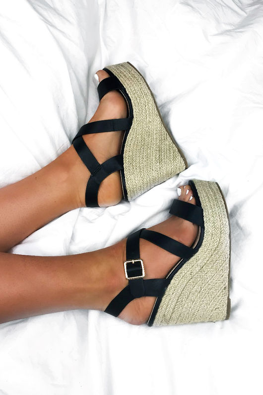 ZARA Black Strappy Espadrille Wedges