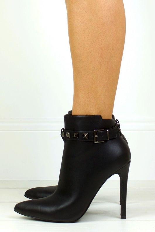 CHARLOTTE Black Stud Ankle Boot