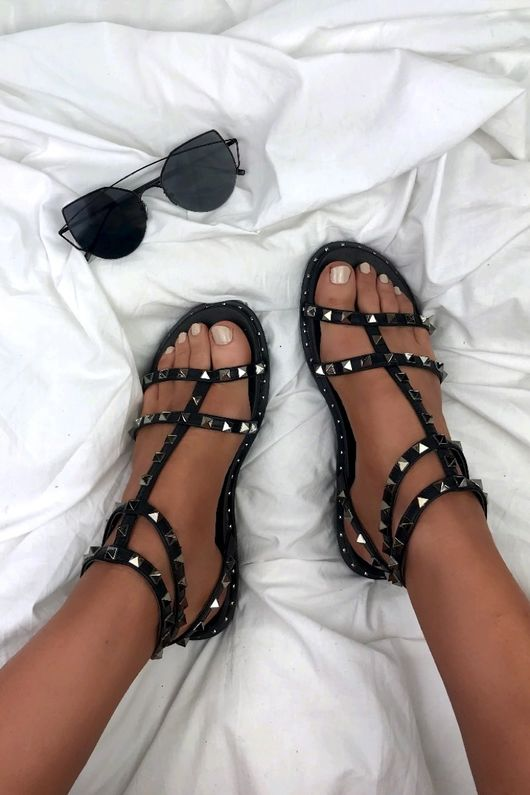TALIA Black Stud Cage Sandals With Silver Detail