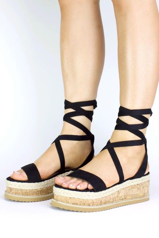INDIGO Black Wrap Up Espadrille Flatform Sandals