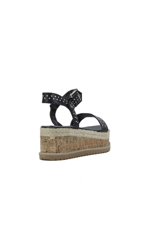 KOKO Black Stud Flatform Sandals With Silver Detail