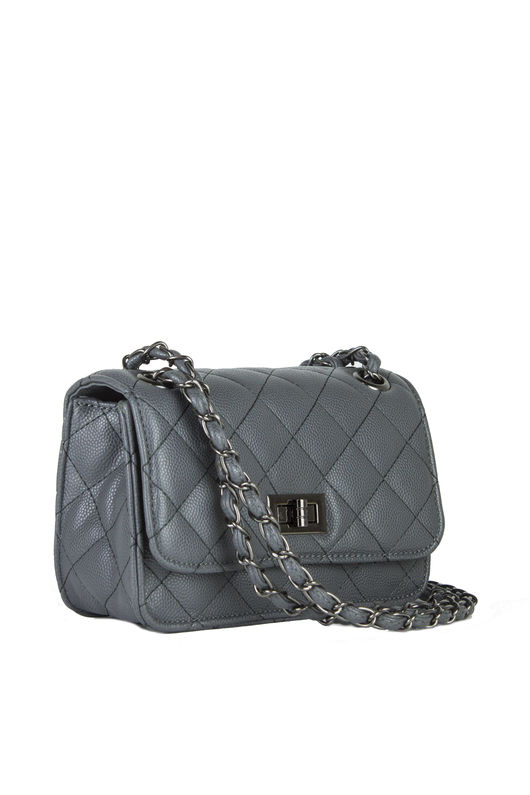 LEAH Dark Grey Quilted Bag With Chain Detail : grey quilted bag - Adamdwight.com