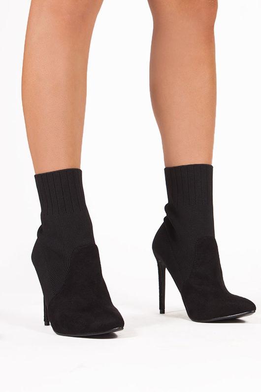 TEGAN Black Ribbed Sock Ankle Boots