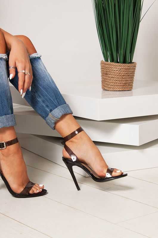 LILA Black Clear Strap Barely There Heels
