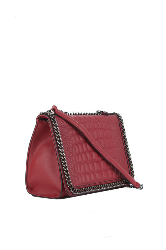 AURORA Red Crocodile Cross Body Chain Bag