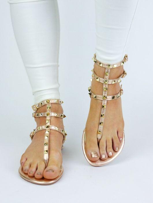 SERENA Rose Gold Stud Sandal