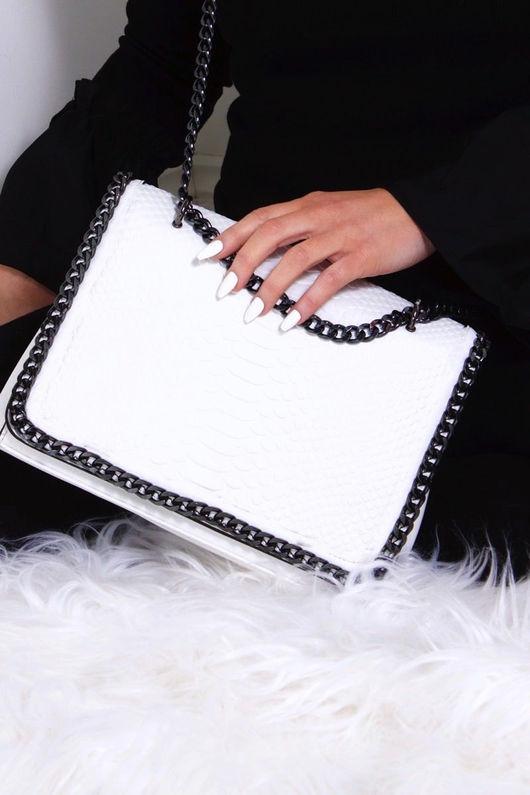 STEFFI White Chain Crocodile Bag