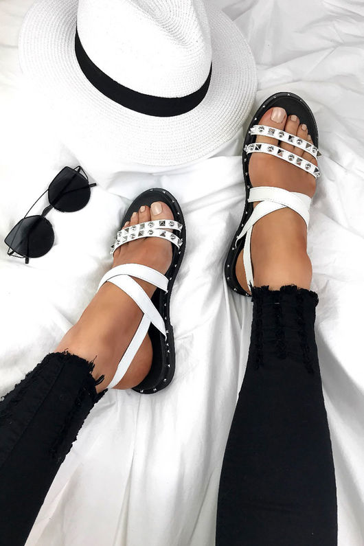 ADELE White Stud Sandals With Silver Detail