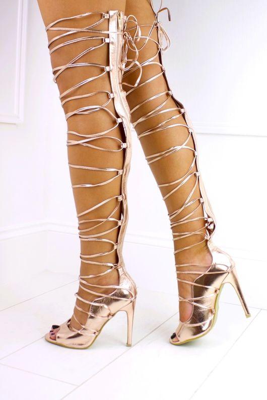 KHALEESI Rose Gold Lace Up Thigh High Heel