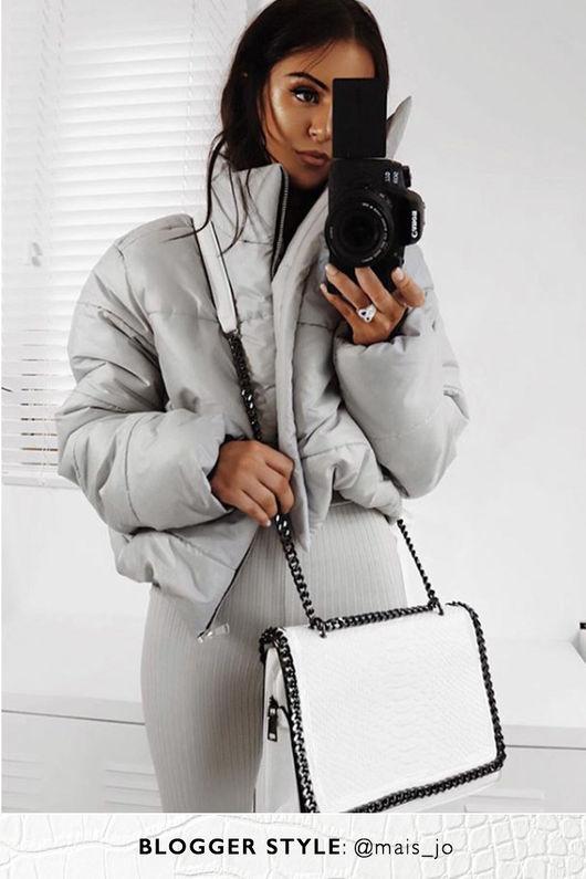 STEFFI White Chain Mock Croc Bag