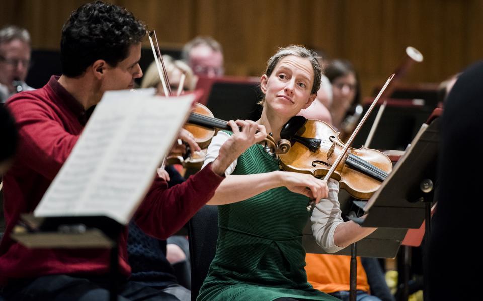 Philharmonia strings in rehearsal